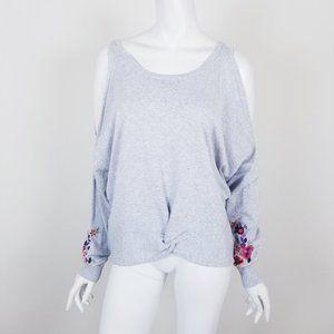 NWT Express Gray Floral Cold Shoulder Sweatshirt
